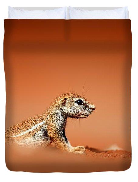 Ground Squirrel On Red Desert Sand Duvet Cover
