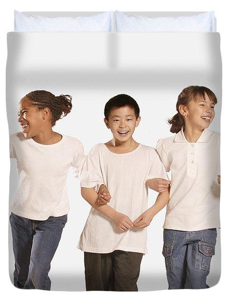 Group Of Children Duvet Cover by Don Hammond