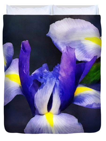 Group Of Japanese Irises Duvet Cover by Susan Savad