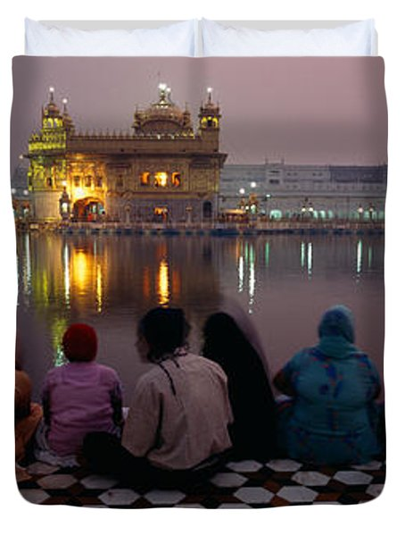 Group Of People At A Temple, Golden Duvet Cover
