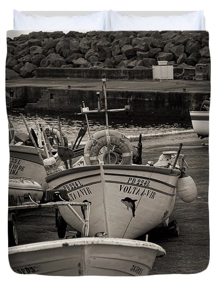 Groups Of Fishing Boats With Life Preservers Docked  Duvet Cover
