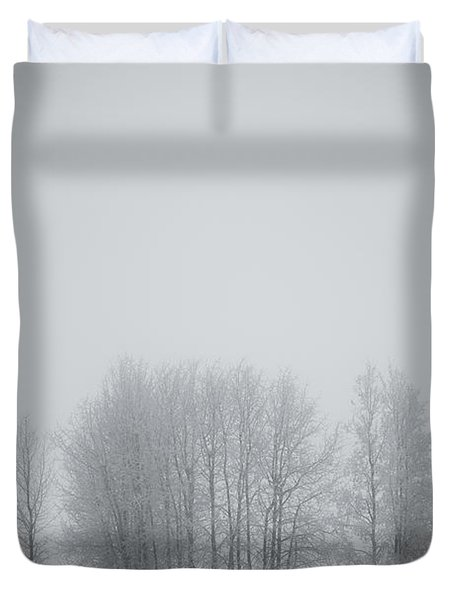 Grove Of Trees Covered In Hoar Frost On Duvet Cover by Roberta Murray