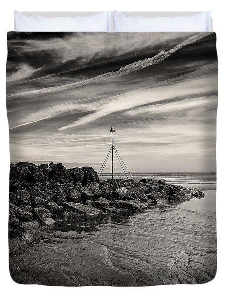 Groyne Marker Duvet Cover by Dave Bowman