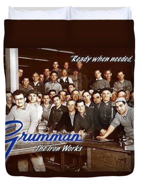 Grumman Iron Works Shop Workers Duvet Cover