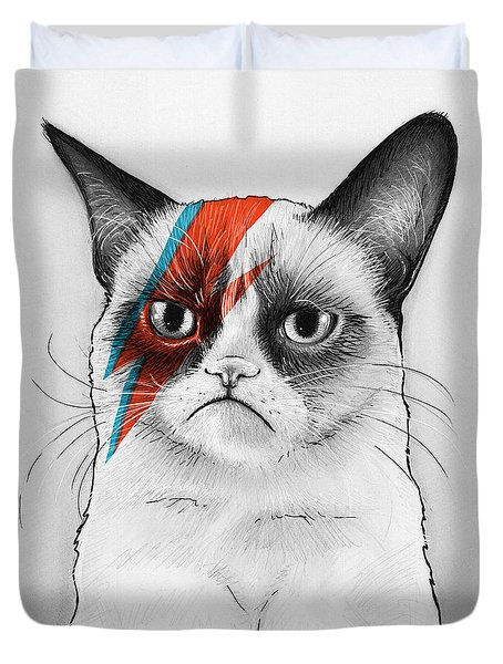 Grumpy Cat As David Bowie Duvet Cover by Olga Shvartsur