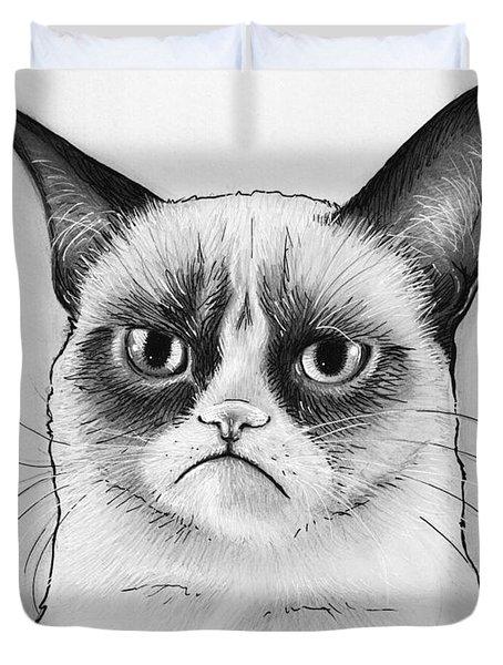 Grumpy Cat Portrait Duvet Cover