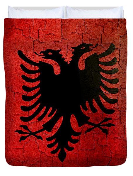 Grunge Albania Flag Duvet Cover
