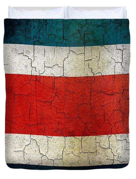 Grunge Costa Rica Flag Duvet Cover