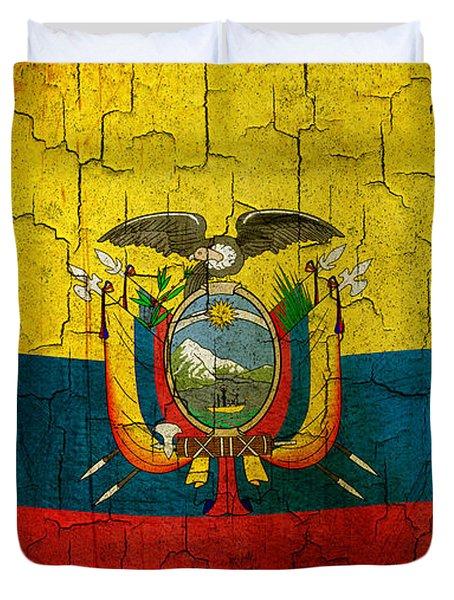 Grunge Ecuador Flag Duvet Cover