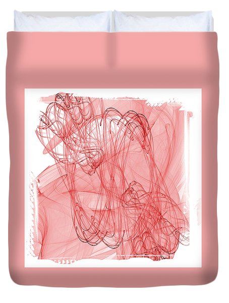 Aries - Red Abstract Zodiac Sign  Duvet Cover by Modern Art Prints