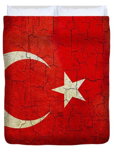 Grunge Turkey Flag Duvet Cover