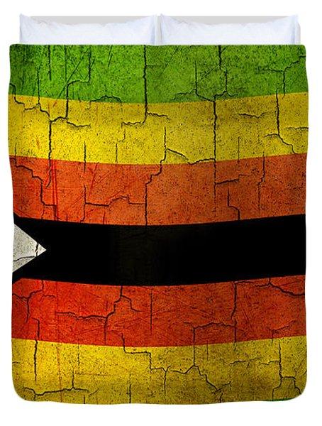 Grunge Zimbabwe Flag Duvet Cover
