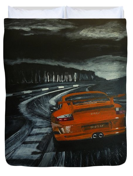 Duvet Cover featuring the painting Gt3 @ Le Mans #2 by Richard Le Page