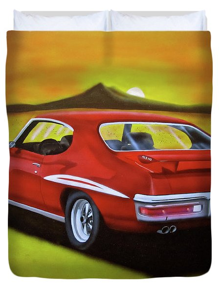 Duvet Cover featuring the painting Gto 1971 by Thomas J Herring