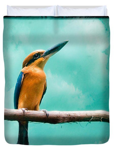Duvet Cover featuring the photograph Guam Kingfisher - Exotic Birds by Gary Heller