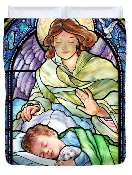 Guardian Angel With Sleeping Boy Duvet Cover