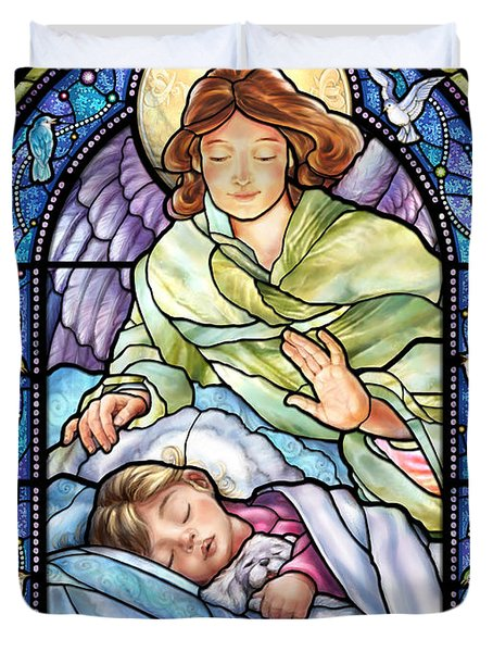 Guardian Angel With Sleeping Girl Duvet Cover