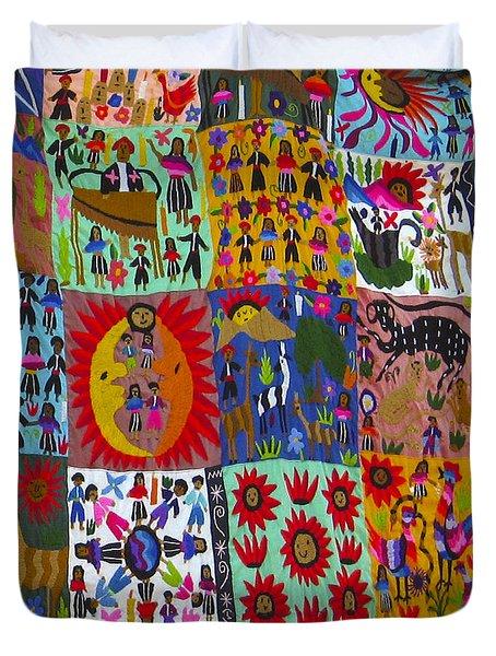 Guatemala Folk Art Quilt Duvet Cover