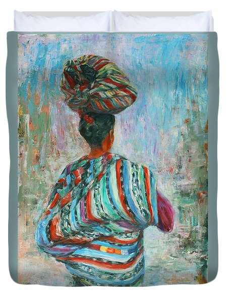 Duvet Cover featuring the painting Guatemala Impression I by Xueling Zou