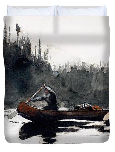 Guides Shooting Rapids Duvet Cover by Winslow Homer