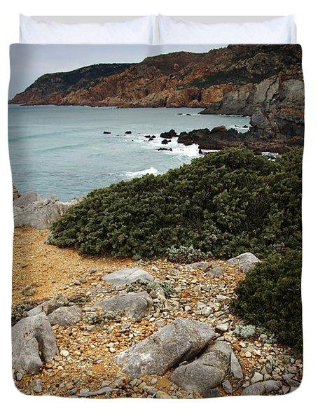 Guincho Cliffs Duvet Cover by Carlos Caetano