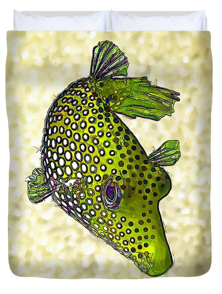 Guinea Fowl Puffer Fish In Green Duvet Cover by ABeautifulSky Photography