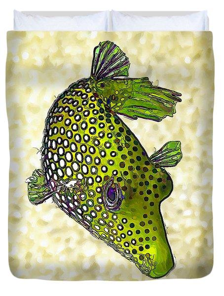 Guinea Fowl Puffer Fish In Green Duvet Cover