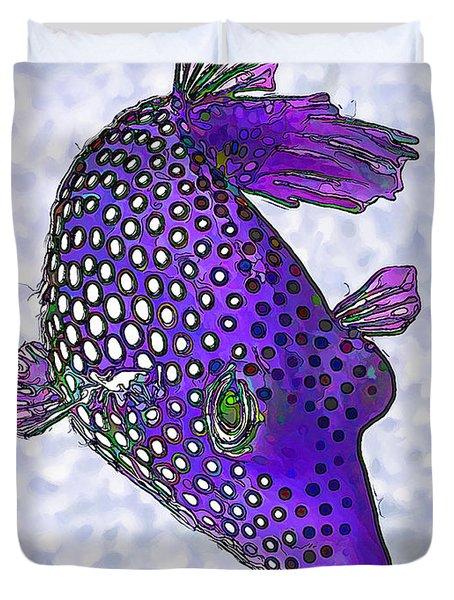 Guinea Fowl Puffer Fish In Purple Duvet Cover