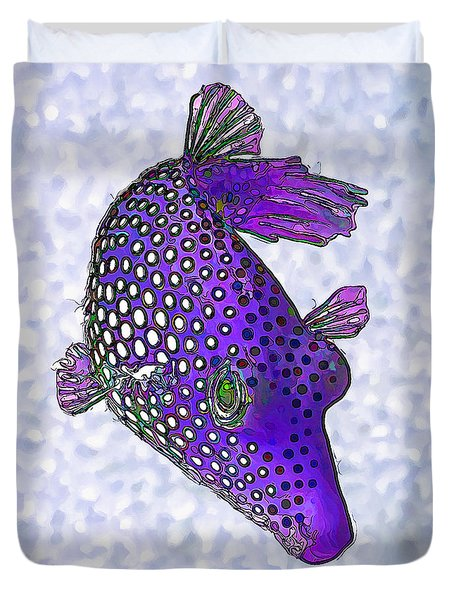 Guinea Fowl Puffer Fish In Purple Duvet Cover by ABeautifulSky Photography