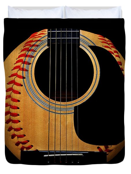 Guitar Baseball Square Duvet Cover