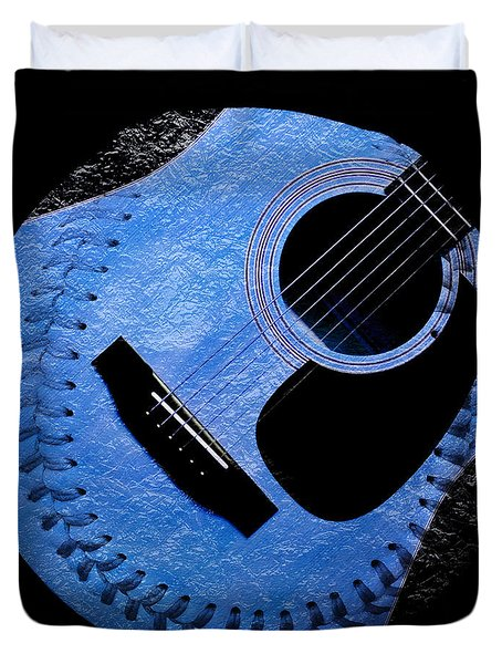 Guitar Blueberry Baseball Square Duvet Cover by Andee Design
