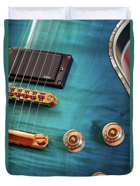 Duvet Cover featuring the photograph Guitar Blues by Joy Watson