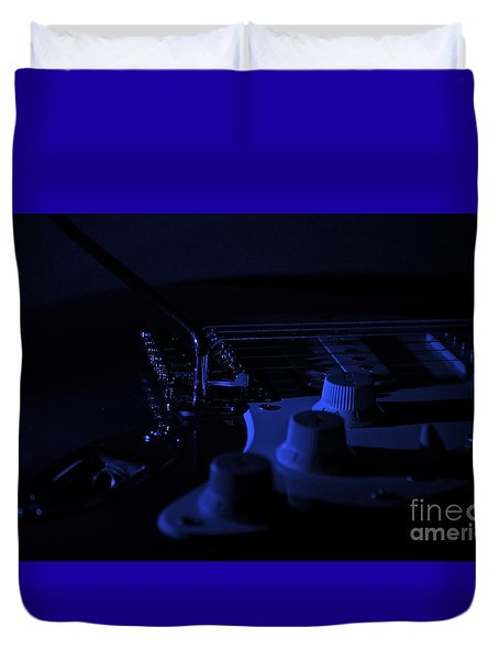 Guitar Blues Duvet Cover by Linda Bianic