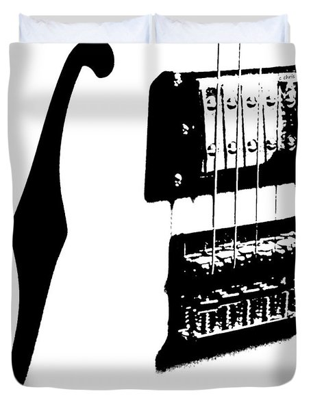 Guitar Graphic In Black And White  Duvet Cover by Chris Berry