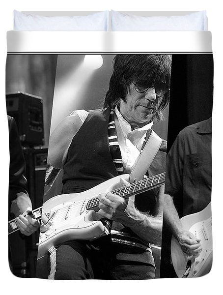 Guitar Legends Jimmy Page Jeff Beck And Eric Clapton Duvet Cover by Marvin Blaine