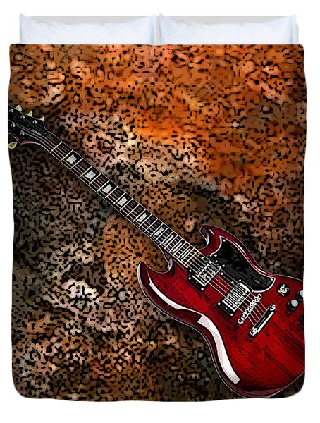 Duvet Cover featuring the digital art Guitar by Marvin Blaine