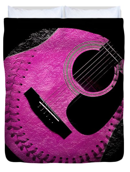 Guitar Raspberry Baseball Duvet Cover by Andee Design