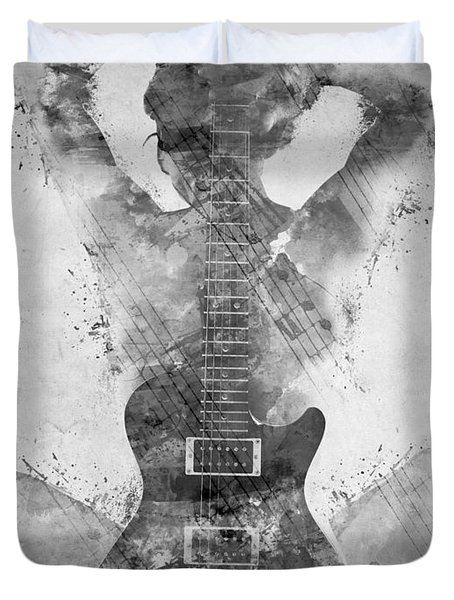 Guitar Siren In Black And White Duvet Cover by Nikki Smith