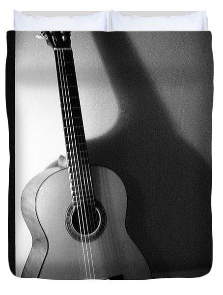 Guitar Still Life In Black And White Duvet Cover