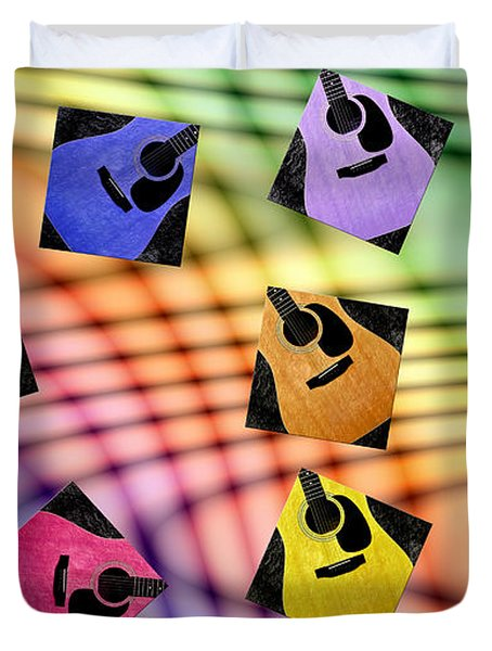 Guitar Storm - Rainbow Colors - Music - Abstract Duvet Cover by Andee Design