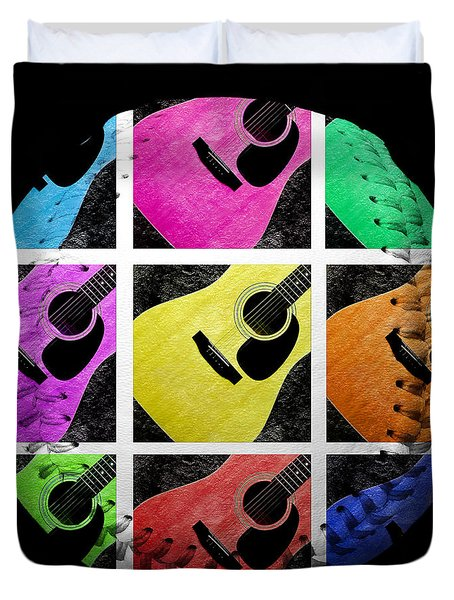 Guitar Tic Tac Toe White Baseball Square Duvet Cover by Andee Design