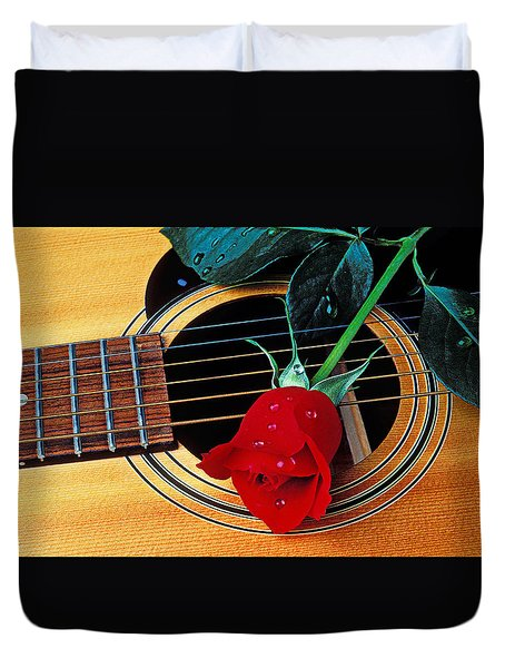 Guitar With Single Red Rose Duvet Cover by Garry Gay