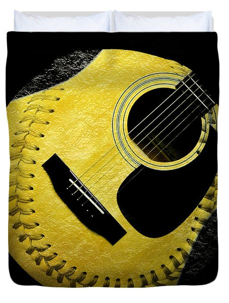Guitar Yellow Baseball Square Duvet Cover by Andee Design
