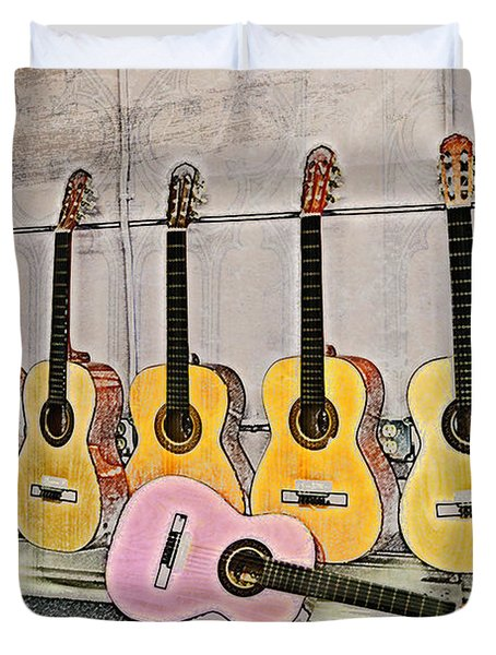 Guitars Duvet Cover by Erika Weber