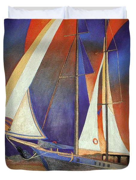 Duvet Cover featuring the painting Gulet Under Sail by Tracey Harrington-Simpson