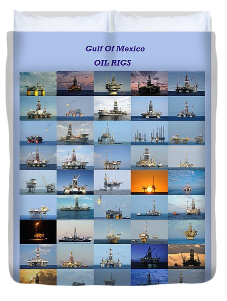 Gulf Of Mexico Oil Rigs Poster Duvet Cover by Bradford Martin