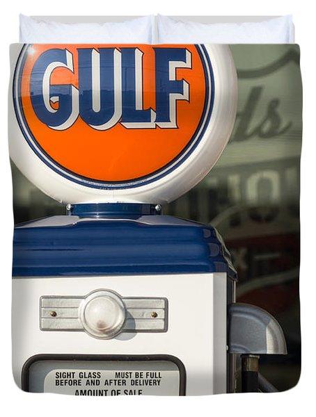 Gulf Oil Gas Pump Duvet Cover