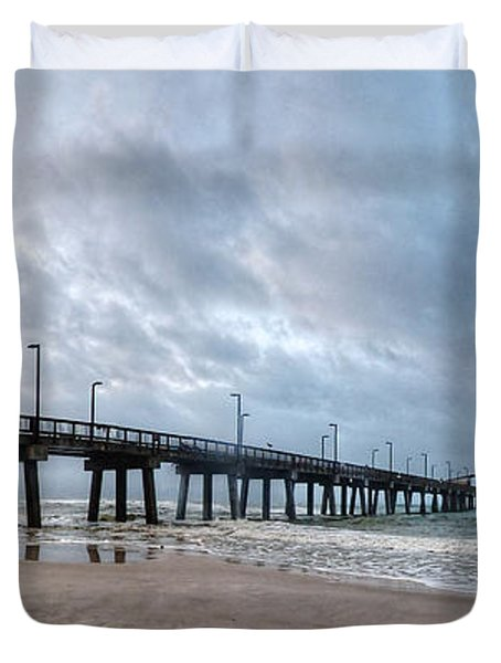 Duvet Cover featuring the digital art Gulf State Pier by Michael Thomas