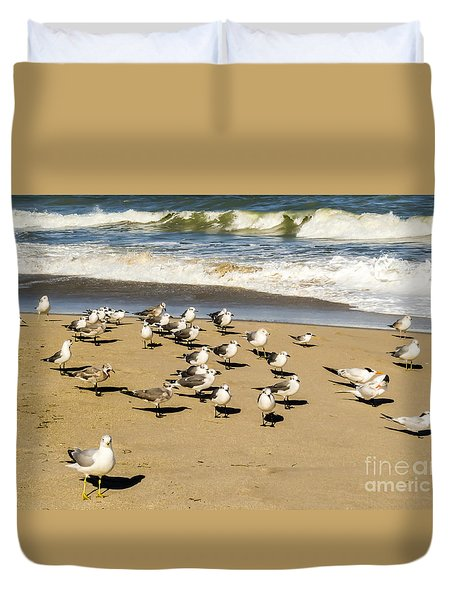 Gulls At The Beach Duvet Cover