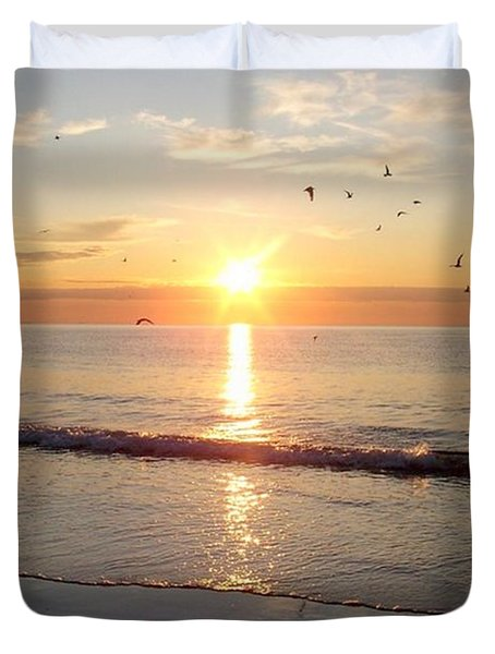 Duvet Cover featuring the photograph Gulls Dance In The Warmth Of The New Day by Eunice Miller